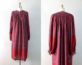 SALE... Vintage 1970s Italian Smocked Peasant Dress / 70s Bohemian Cupro Tunic / Taormina Dress