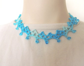 Crochet Necklace, Beaded Necklace, Gift for Mom, Blue Necklace, Womens Jewelry, Handmade Jewelry