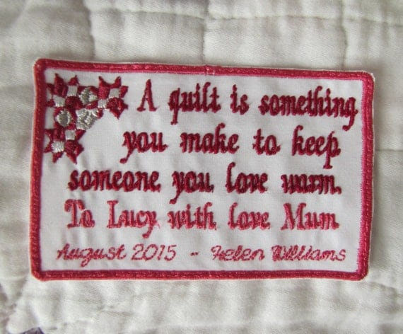 Items Similar To Custom Quilt Label Personalized For Your