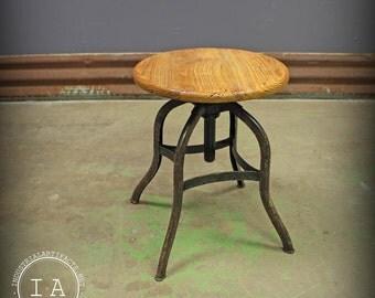 Vintage Industrial Toledo UHL Steel Machinist Stool Drafting Chair
