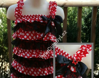 Red Minnie Mouse Lace Romper