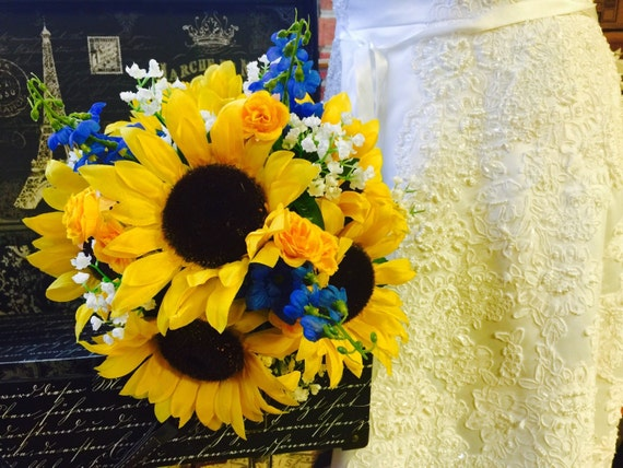 Blue silk flowers bridal bouquet sunflower wedding bouquet yellow