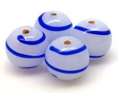 4 Vintage Milky White Blue Striped Japan Round Glass Beads