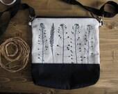 Crossbody bag, Hand printed linen, Middle size handbag, Every day bag