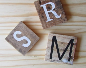 Initial Wood Magnet - Rustic Kitchen decor - Letter and Monogram