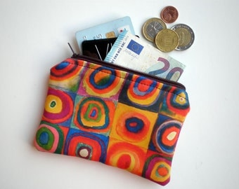 Coin purse, Small zipper pouch, Card wallet, Gift idea, Kandinsky art, Squares with Concentric Circles