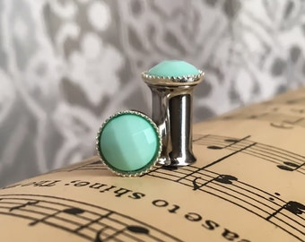 Fancy Mint Green Plugs, gauges  0g, 2g, 4g, 6g, 8g