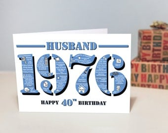 Happy 40th Birthday Husband Greetings Card - Born In 1976 Facts A5 Blue Mens / Male