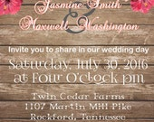 Rustic Wedding Invitation Printable Invite Digital File