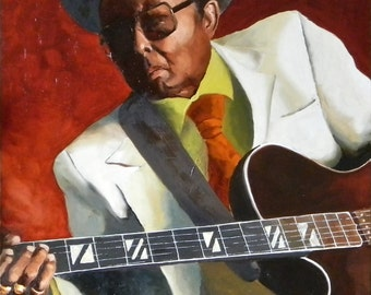 Chester, blues guitar player original oil painting 24x36