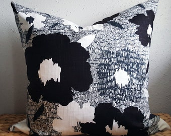 black and white modern floral pillow
