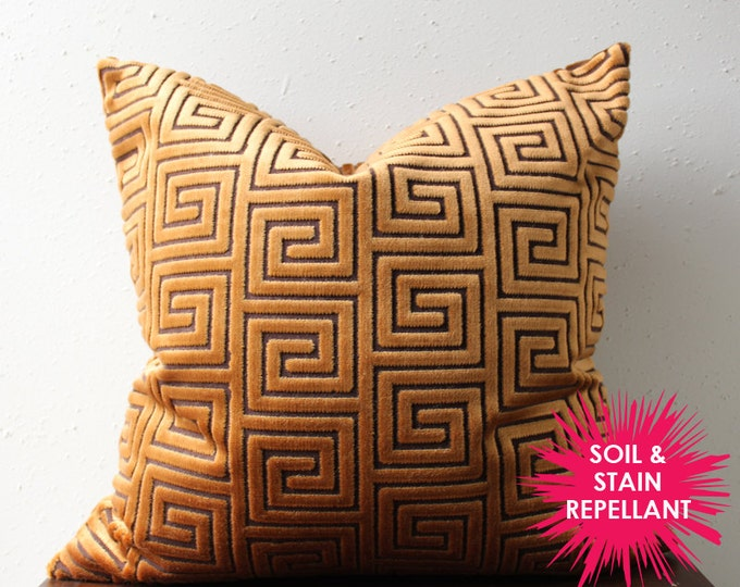 copper velvet greek key pillow cover - soil & stain repellant - COVER ONLY