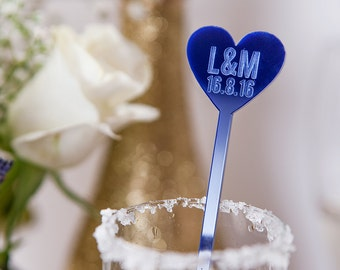 Personalised Couples Drink Stirrers - Party Supplies - Wedding Favours - Bridal Shower - Engagement Party - Swizzle Sticks - Couples Gift