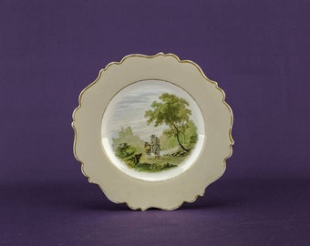Classical Antique Ceramic Landscape Serving PLATE Victorian Dish Cream Medium 8.9'' Food Dinner Dining English Circa LS