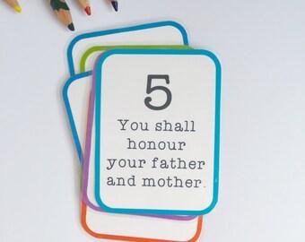 10 Commandments Flashcard Set - Printable PDF