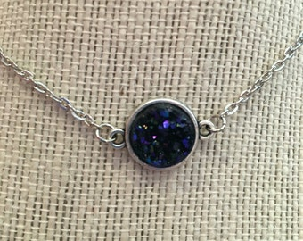 "16"" Blue Faux Druzy Pendant Necklace"
