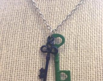 "24"" Green&Blue Keys Necklace"