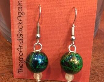 Blue-Green Crackle&GlowInTheDark Bead Earrings