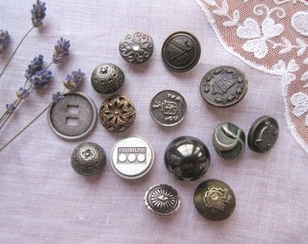 Vintage  Buttons , Antique Buttons  Sewing Supplies   Silver Tone  Buttons - set of 12.