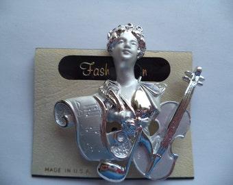 Vintage Signed AJC Silvertone/Matt Composer/Sheet Music and Violin Brooch/Pin