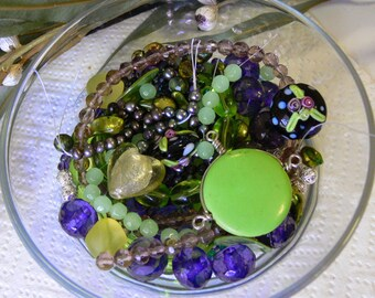 Bead Soup - Green Tones - Unique selection of glass, feature beads, seed beads, metal spacers - Ready to String - Gift - DIY Jewellery