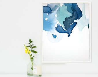 Navy Blue Abstract Canvas Art, Large Abstract Painting Giclee Art Print, Blue Wall Art, Abstract Botanical Print, Blue Canvas Artprint, Evo