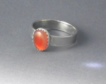 Peach moonstone sterling silver ring, moonstone ring, silver ring, wide band ring, silver moonstone ring,