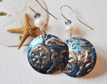 Sea life copper earrings with blue patina, pearls, and crystals, metal earrings, rustic earrings, artisan earrings