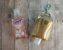 Small Hand Sanitizer Holder, Gold Vinyl with Snap, Great for Backpacks, Bags and Purses, Quick Ship, Choose from 25 Colors, Made in USA