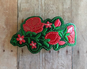 Embroidered Floral Hair Clip, Green & Pink Glitter Vinyl on French Barrette, Pink Applique and Embroidered Flowers and Green Leaves