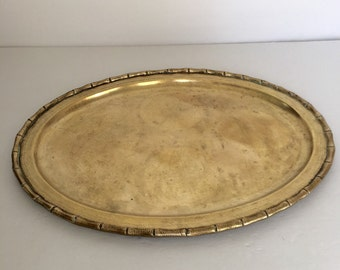 Vintage Brass Tray with Faux Bamboo Border, Mid Century Hollywood Regency