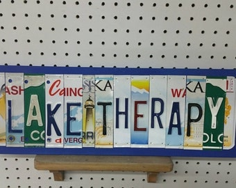 License Plate Sign License Plate letter Art Picture Home Deco LAKE THERAPY License Plate Letter Sign