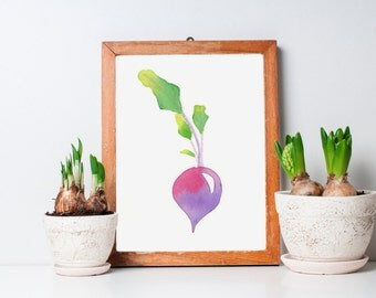 ORIGINAL watercolor painting of a beet, kitchen decor, NOT A PRINT!