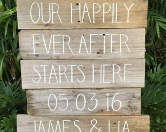 Our Happily Ever After Starts Here DATE & NAMES Rustic Timber Sign