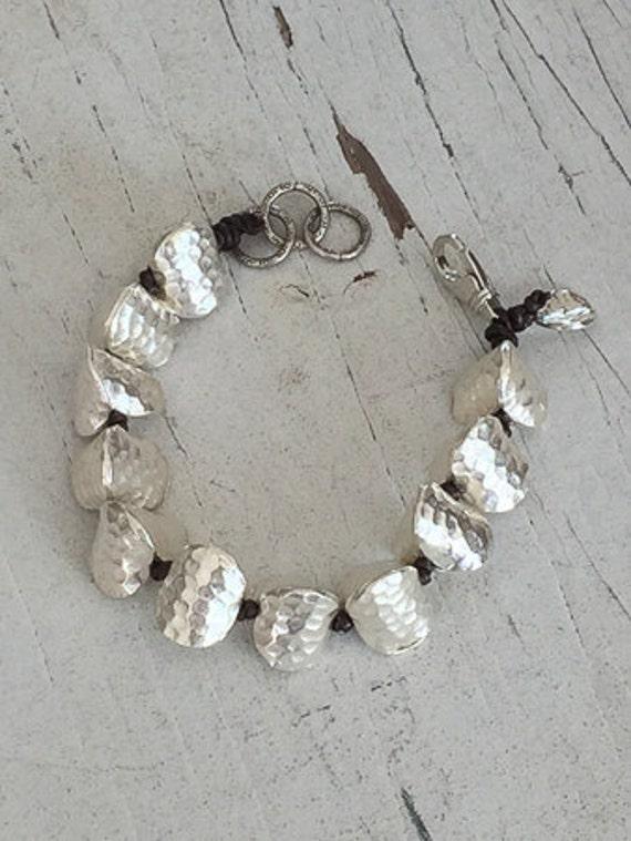 Prism.  Big triangular prism beads knotted onto kangaroo leather bracelet.  Handmade, OOAK, by ladeDAH!