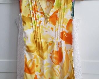 Wearable art, Art tunic, funky art tunic, Yellow sleeveless tunic tank top, Woman's top, Artistic wear