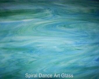 8x10 Sheet Spectrum Dense Dark Blue, Green & White Stained Glass S623.7