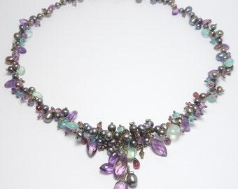 Artisan Necklace Amethyst Freshwater Pearls Silver & Aqua