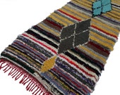 """90""""X41"""" vintage Moroccan rug woven by hand from scraps of fabric / boucherouite / boucherouette"""