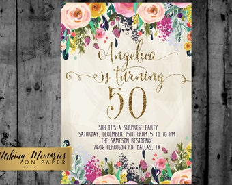 Adult Birthday Party Invitation, 30th, 40th, 50th, 21st, 16th Watercolor, Flowers,Floral, Invitation, Floral Invite, Flower Invite -  sfc
