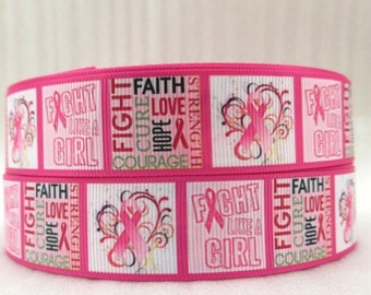"""By The Yard 1"""" Fight Breast Cancer Grosgrain Ribbon Great for Hair Bows Scrapbooking Lanyards Lisa"""