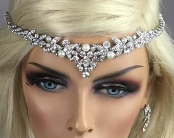 Rhinestone Leaf /Pearls Or Just Rhinestone Bridal Headpiece, Silver or Gold Wedding Hair Jewelry, Forehead or Back Piece