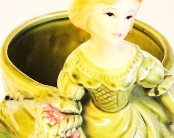 Heftons Vintage Girl Planter 4598 Ceramic Exclusives Made IN Japan 1950