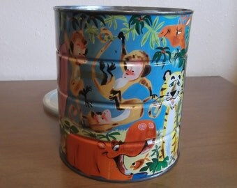 Vintage Folgers Coffee Can Tin with Colorful Jungle Zoo Animals