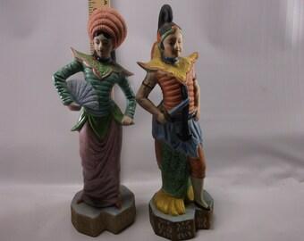 Pair of Vintage Occupied Japan Figurines Statues Geisha Man & Lady Oriental Hand Painted Bisquick.epsteam
