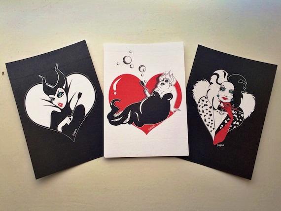 Disney Villains Print postcard set © Babydark