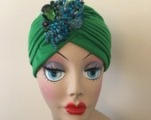 Green Turban With Crystal Vintage Style Brooch