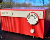BLUETOOTH MP3 READY -  Salmon Pink Retro Mid Century Deco Vintage 1959 Zenith F580 AM Tube Radio Sounds Great!