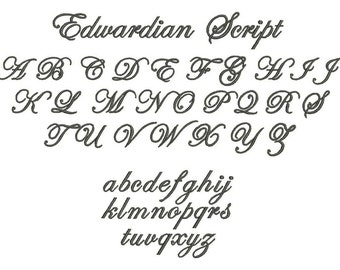 Machine Embroidery Edwardian Script Fonts