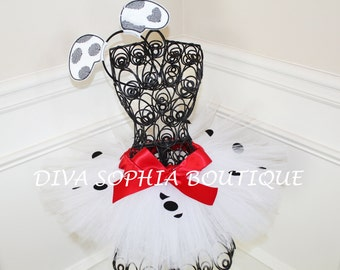 Dalmation Tutu with Ears Headband- Halloween Costume